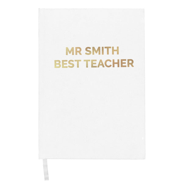 Personalised Gold Message Hardback A5 Notebook white background