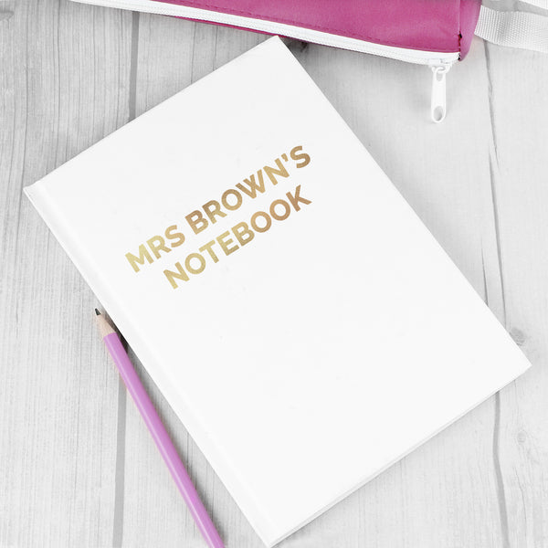 Personalised Gold Message Hardback A5 Notebook from Sassy Bloom Gifts - alternative view