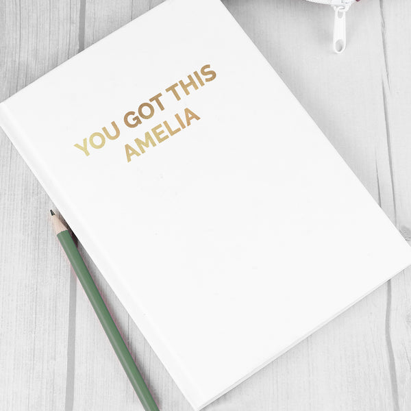 Personalised Gold Message Hardback A5 Notebook lifestyle image