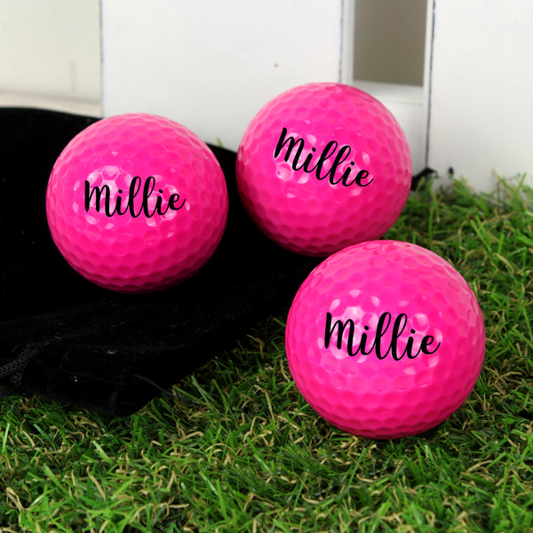 Personalised Name Pack of Three Pink Golf Balls from Sassy Bloom Gifts - alternative view