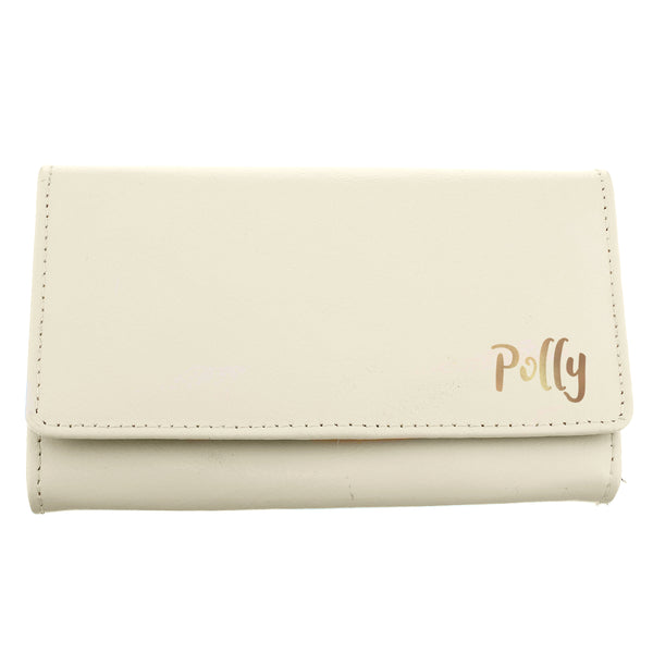 Personalised Gold Name Cream Purse white background