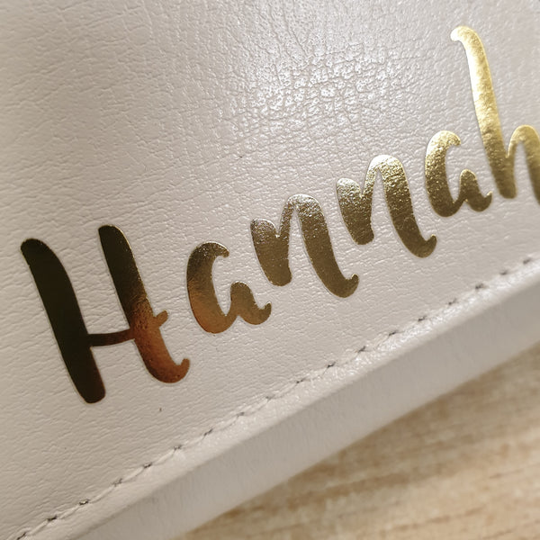 Personalised Gold Name Cream Purse lifestyle image