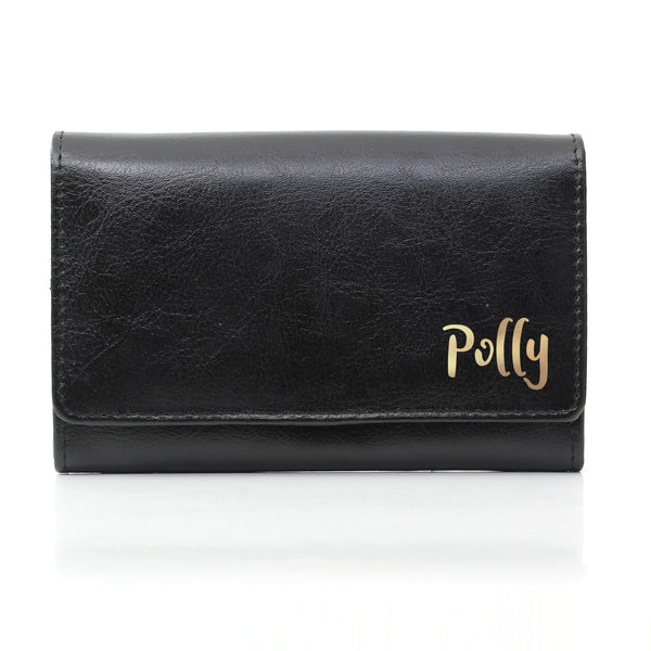Personalised Gold Name Black Purse white background