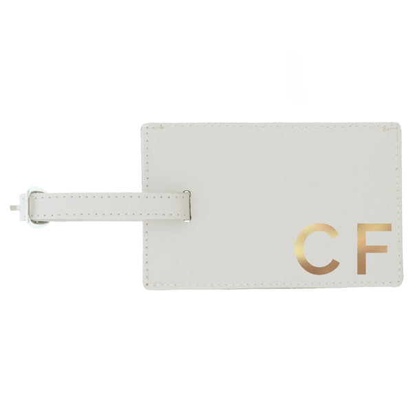 Personalised Gold Initials Cream Luggage Tag white background