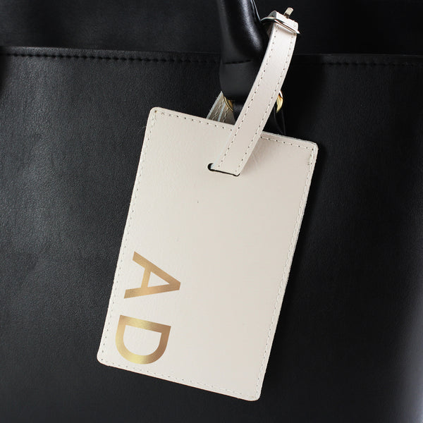 Personalised Gold Initials Cream Luggage Tag from Sassy Bloom Gifts - alternative view