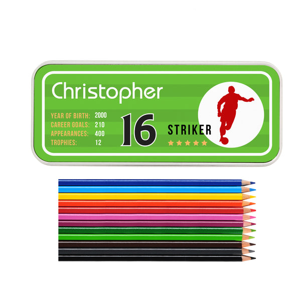 Personalised Team Player Pencil Tin with Pencil Crayons lifestyle image