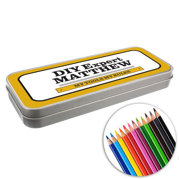 Personalised Man at Work Pencil Tin with Pencil Crayons from Sassy Bloom Gifts - alternative view