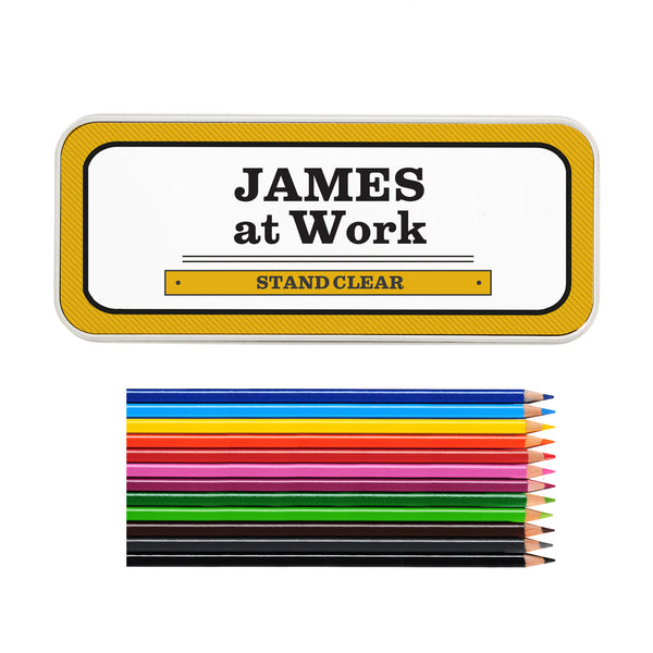 Personalised Man at Work Pencil Tin with Pencil Crayons lifestyle image
