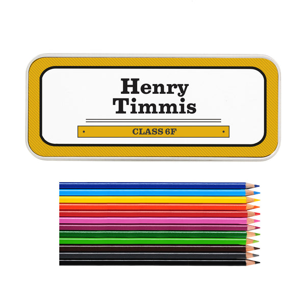 Personalised Man at Work Pencil Tin with Pencil Crayons with personalised name