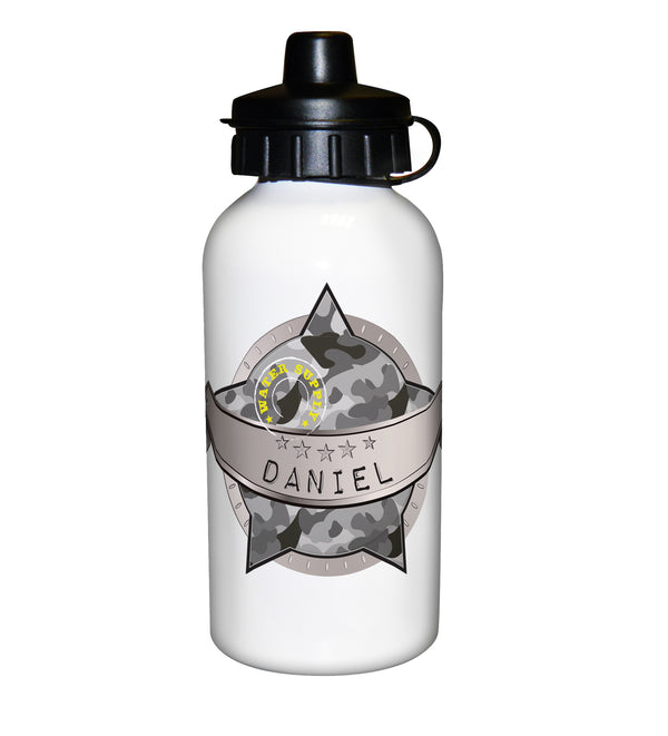 Personalised Army Camo Drinks Bottle white background