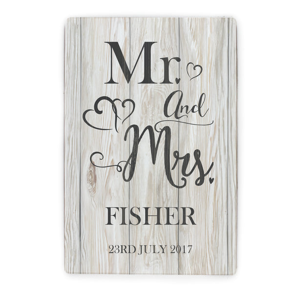 Personalised Mr & Mrs Metal Sign white background