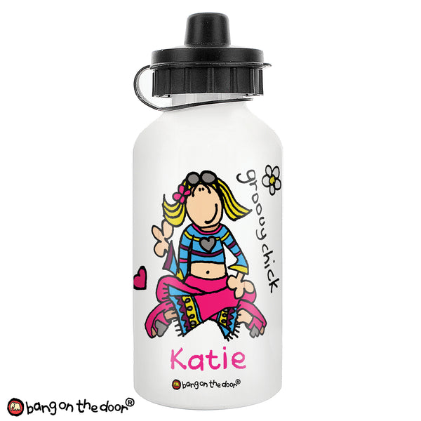 Personalised Bang on the Door Groovy Chick Drinks Bottle white background