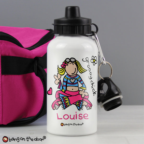Personalised Bang on the Door Groovy Chick Drinks Bottle