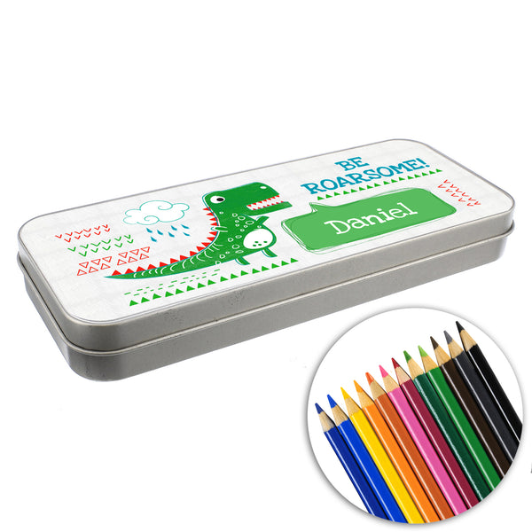 Personalised 'Be Roarsome' Dinosaur Pencil Tin with Pencil Crayons white background