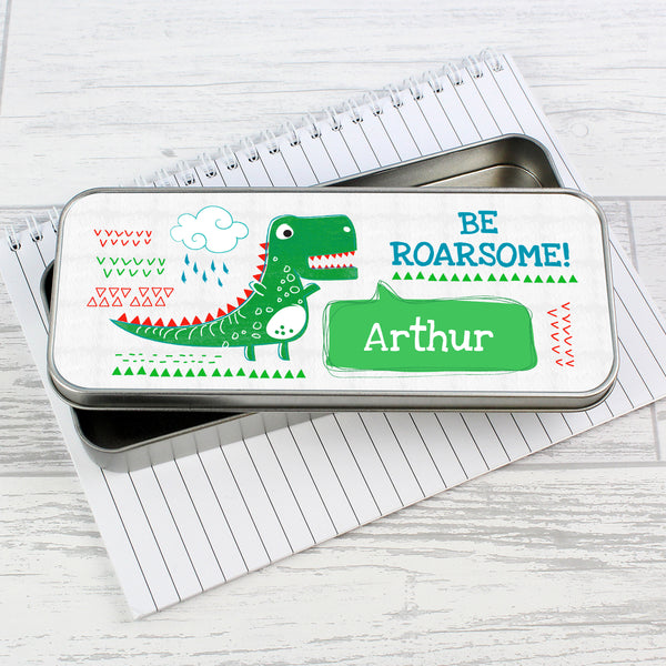 Personalised 'Be Roarsome' Dinosaur Pencil Tin with Pencil Crayons from Sassy Bloom Gifts - alternative view