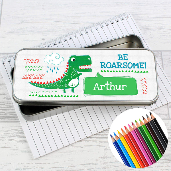 Personalised 'Be Roarsome' Dinosaur Pencil Tin with Pencil Crayons lifestyle image