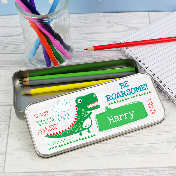 Personalised 'Be Roarsome' Dinosaur Pencil Tin with Pencil Crayons with personalised name