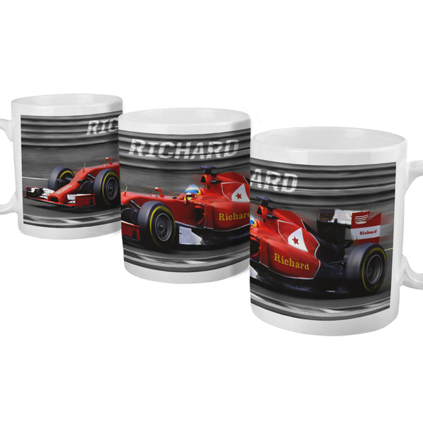 Personalised Formula 1 Mug white background