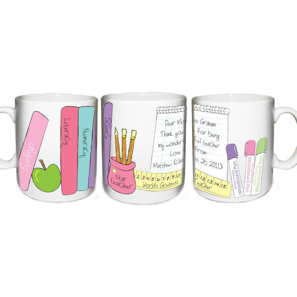 Personalised Female Teacher Mug white background