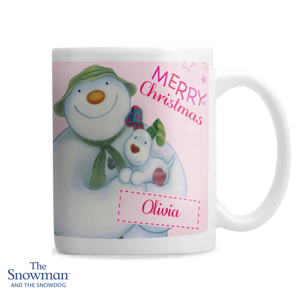 Personalised The Snowman and the Snowdog Pink Mug white background