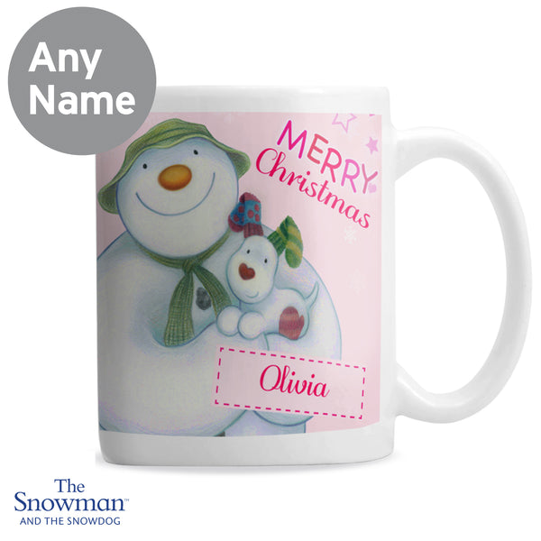Personalised The Snowman and the Snowdog Pink Mug lifestyle image