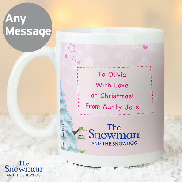 Personalised The Snowman and the Snowdog Pink Mug with personalised name