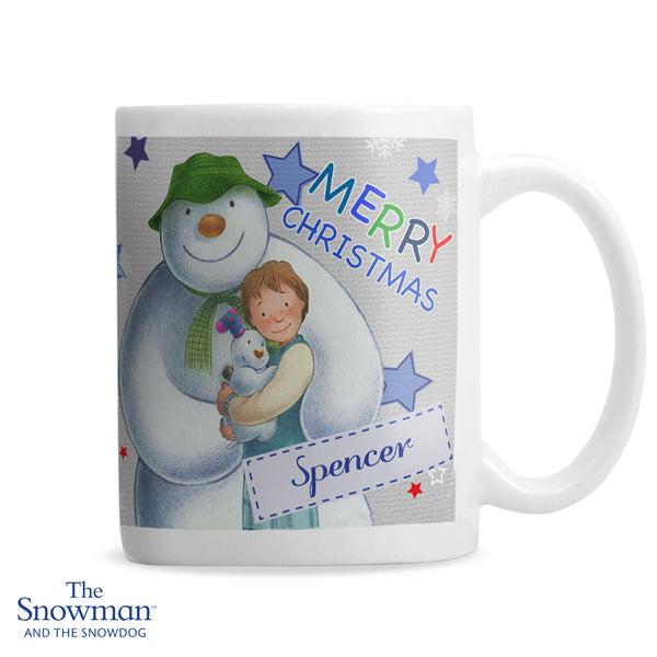 Personalised The Snowman and the Snowdog Blue Mug white background