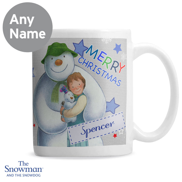 Personalised The Snowman and the Snowdog Blue Mug lifestyle image