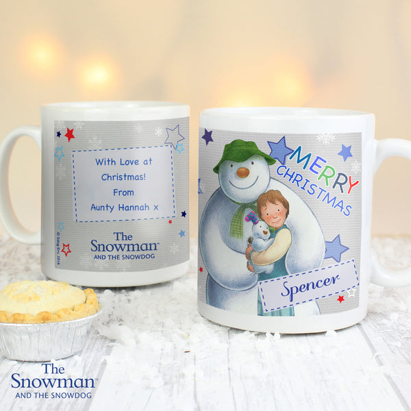 Personalised The Snowman and the Snowdog Blue Mug with personalised name