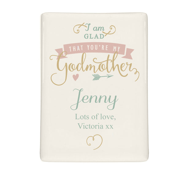 Personalised I Am Glad... Godmother Fridge Magnet white background