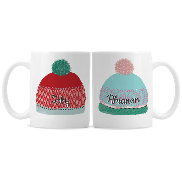 Personalised Woolly Hats Mug Set white background