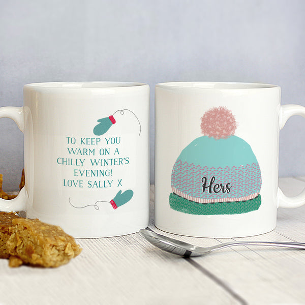 Personalised Woolly Hats Mug Set lifestyle image