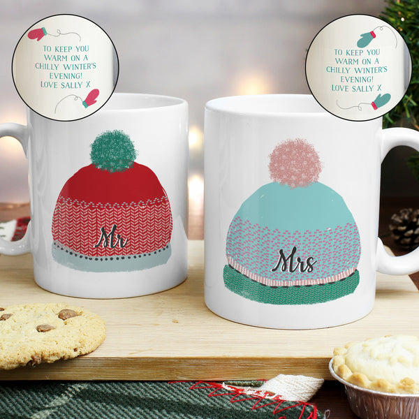 Personalised Woolly Hats Mug Set with personalised name