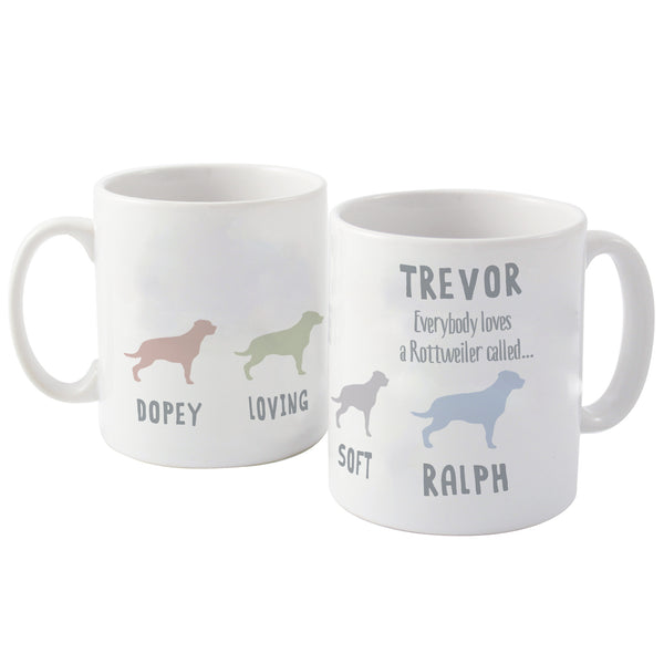 Personalised Rottweiler Dog Breed Mug white background