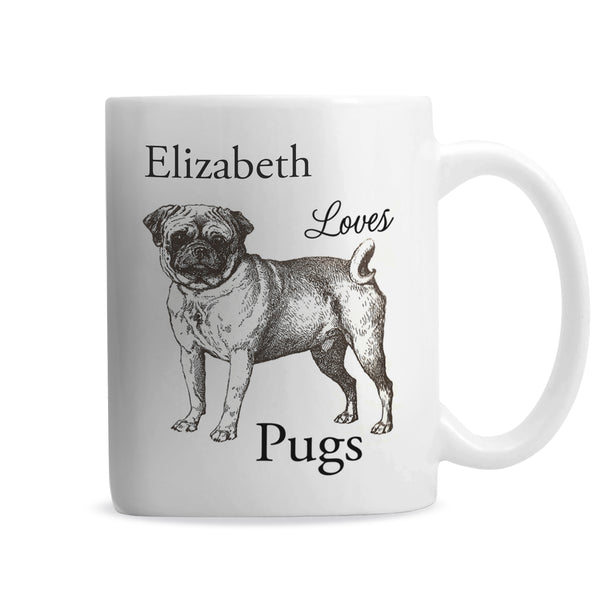 Personalised Loves Pugs Mug from Sassy Bloom Gifts - alternative view