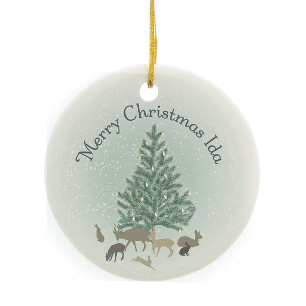 Personalised A Winter's Night Round Ceramic Decoration white background