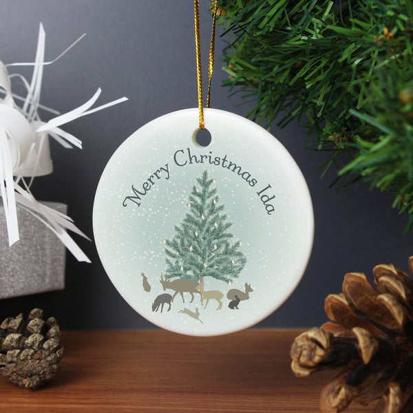 Personalised A Winter's Night Round Ceramic Decoration from Sassy Bloom Gifts - alternative view