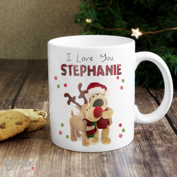 Personalised Boofle Christmas Reindeer Mug lifestyle image