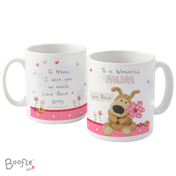 Personalised Boofle Flowers Mug white background