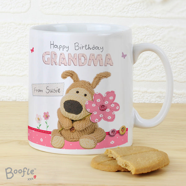 Personalised Boofle Flowers Mug lifestyle image