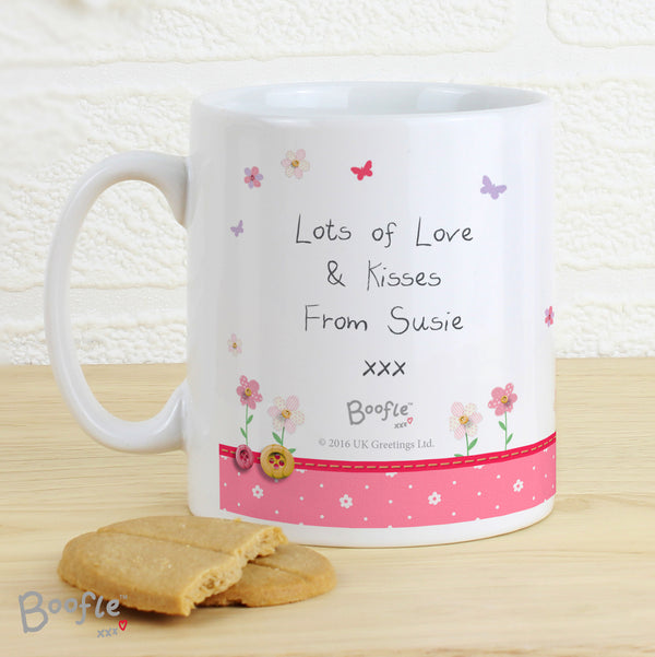 Personalised Boofle Flowers Mug with personalised name