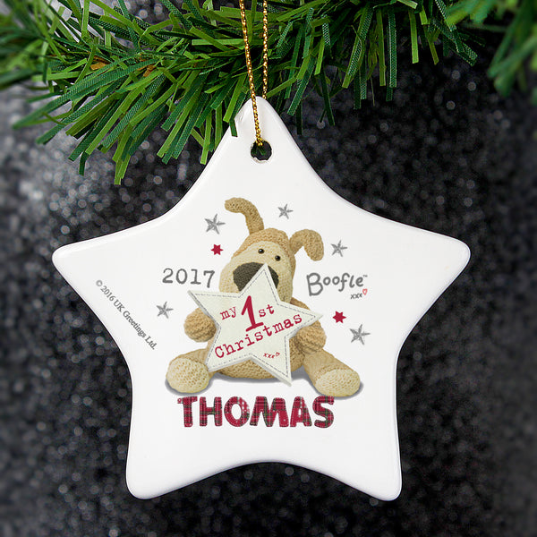 Personalised Boofle My 1st Christmas Ceramic Star Decoration from Sassy Bloom Gifts - alternative view