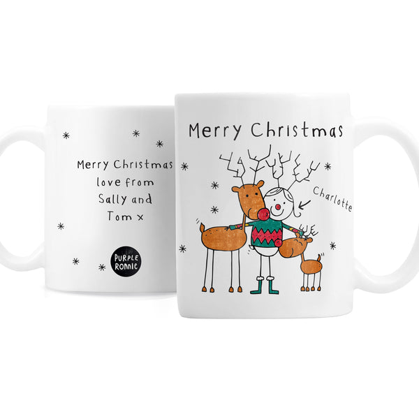 Personalised Purple Ronnie Reindeers Female Mug white background