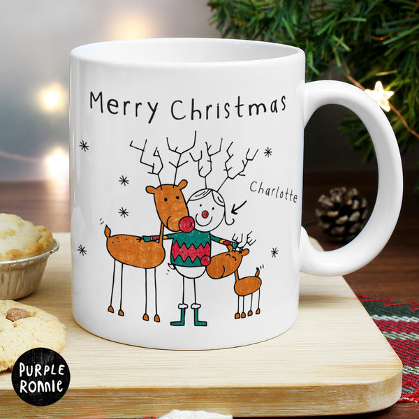 Personalised Purple Ronnie Reindeers Female Mug from Sassy Bloom Gifts - alternative view