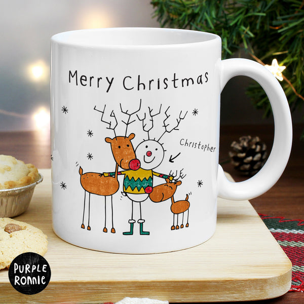 Personalised Purple Ronnie Reindeers Male Mug from Sassy Bloom Gifts - alternative view