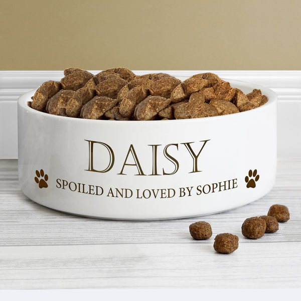 Personalised Paws 14cm Medium White Pet Bowl from Sassy Bloom Gifts - alternative view