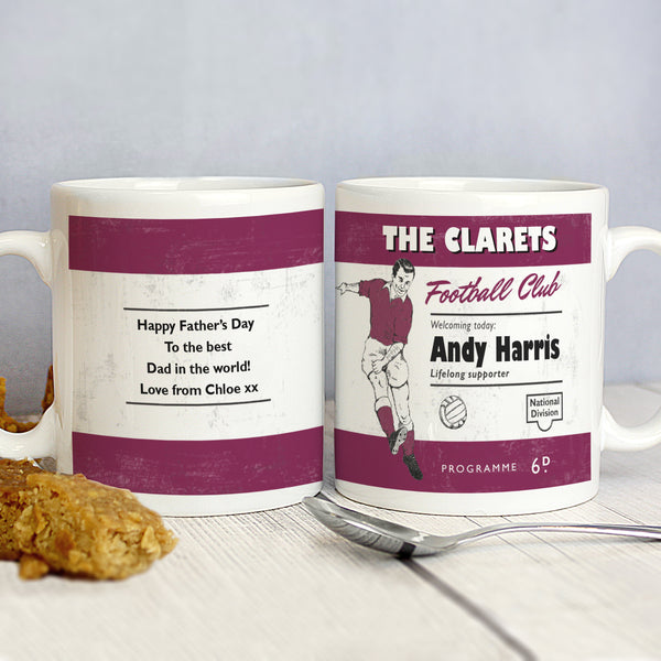 Personalised Vintage Football Claret Supporter's Mug from Sassy Bloom Gifts - alternative view