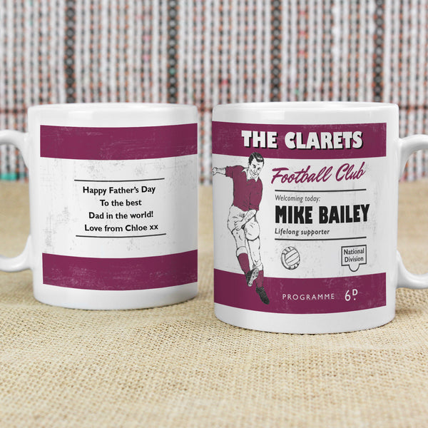 Personalised Vintage Football Claret Supporter's Mug with personalised name