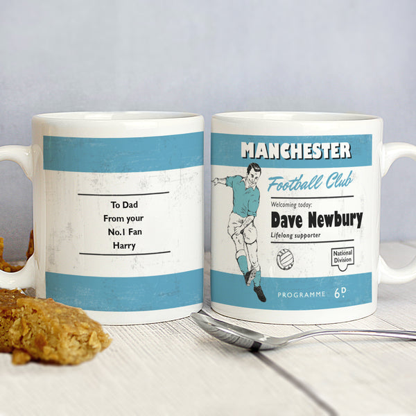 Personalised Vintage Football Sky Blue and White Supporter's Mug from Sassy Bloom Gifts - alternative view