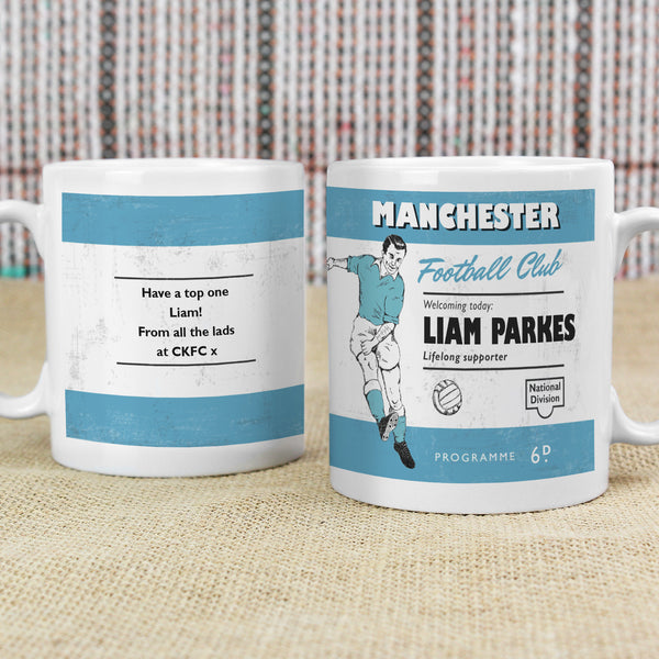 Personalised Vintage Football Sky Blue and White Supporter's Mug lifestyle image